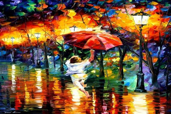 Дождь в живописи Леонида Афремова