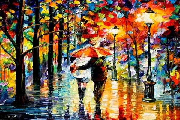 Осень и дождь на картинах Леонида Афремова