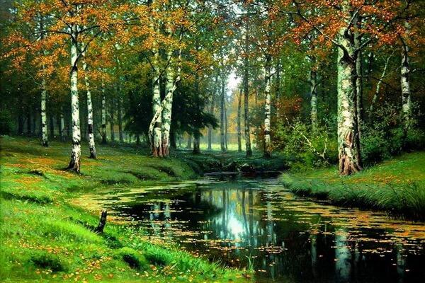 Осенние пейзажи в живописи Ефима Волкова