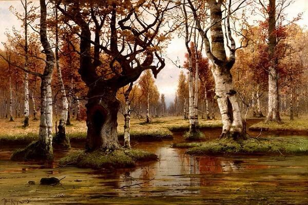 Осенние пейзажи в живописи Юлия Клевера