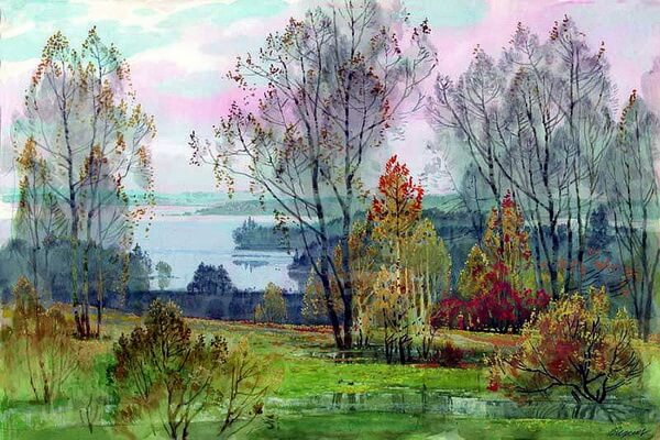 Осенние пейзажи в современной живописи - Акварельная осень Вячеслава Чернакова