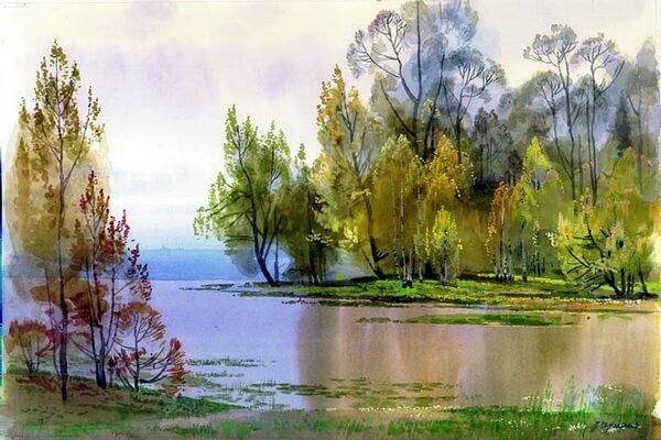 Осенние пейзажи в современной живописи - Картины акварелью Вячеслава Чернакова