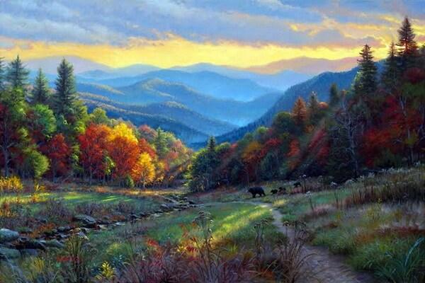Осенние пейзажи в живописи - Картины осеннего леса Марка Китли