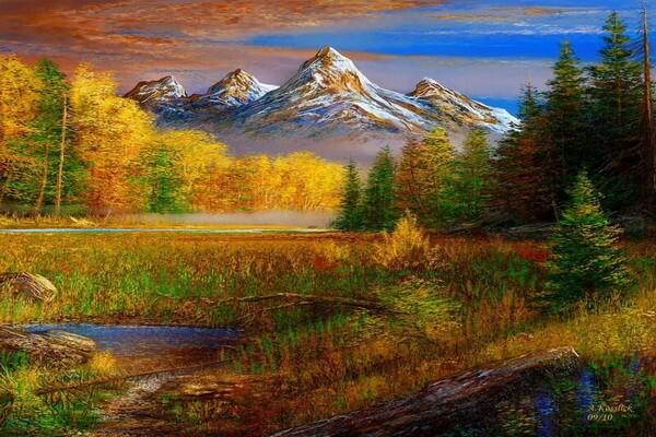 Осенние пейзажи в живописи - Художник Андре Косслик (Andre Kosslick)