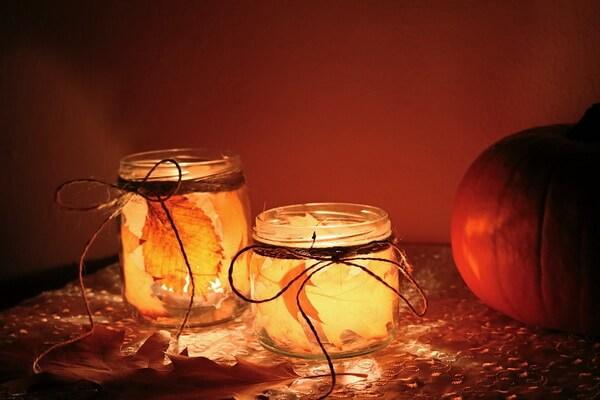 Осенние подсвечники из стеклянной банки - пошаговая инструкция