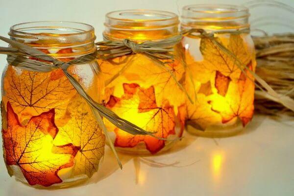Осенние подсвечники из стеклянной банки и опавших листьев - пошаговая инструкция