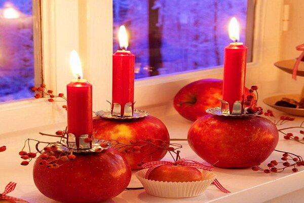 Осенние подсвечники из яблок - фото и идеи для вдохновения