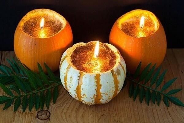 Осенние подсвечники своими руками из тыквы