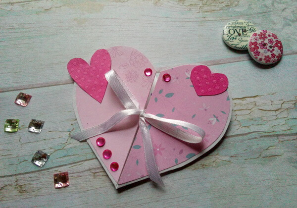 Открытка Сердце своими руками ко Дню Святого Валентина