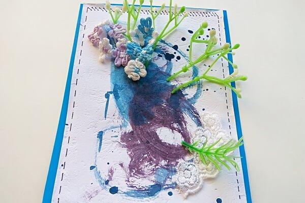 Красивая открытка с цветами в технике скрапбукинг поэтапно - шаг 11