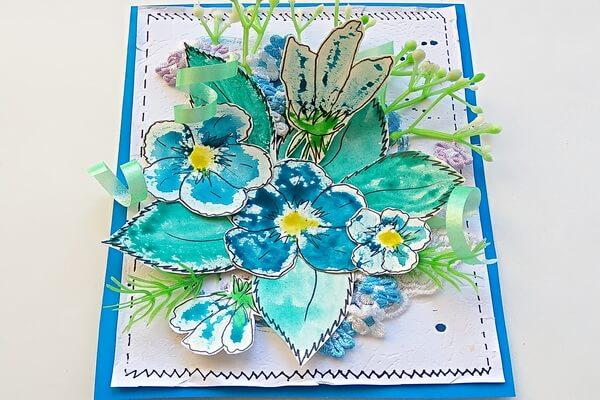 Красивая открытка с цветами в технике скрапбукинг поэтапно - шаг 13
