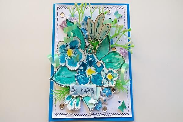 Открытка с цветами в стиле скрапбукинг - пошаговый мастер-класс с поэтапными фото работы