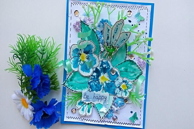 Красивая открытка с цветами в технике скрапбукинг - пошаговый мастер-класс для начинающих