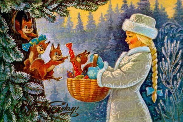 Новогодние открытки Владимира Ивановича Зарубина с милыми зверушками