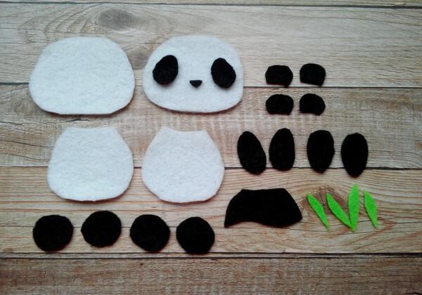 Панда из фетра пошагово - шаг 2