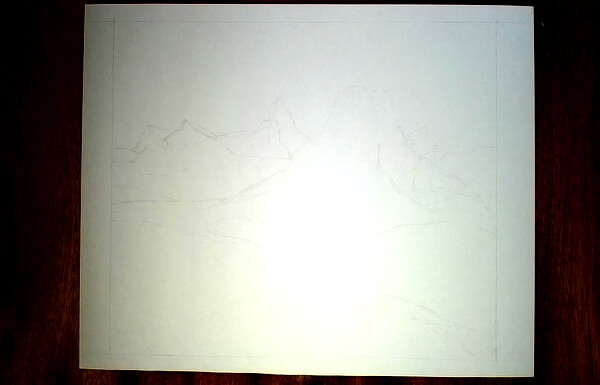Пейзаж цветными карандашами поэтапно - шаг 1