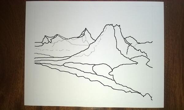 Как нарисовать пейзаж цветными карандашами - шаг 1