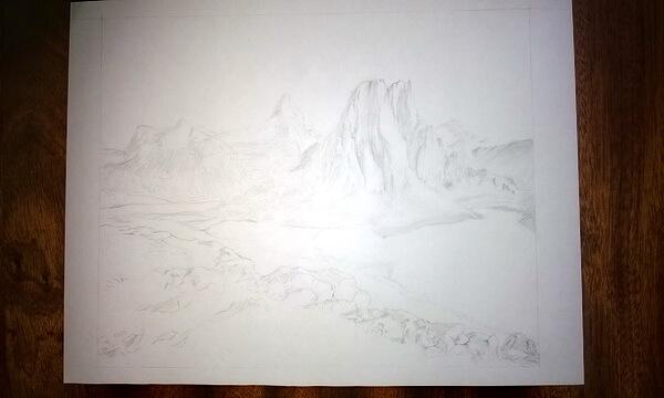 Пейзаж цветными карандашами поэтапно - шаг 2