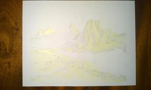 Пейзаж цветными карандашами поэтапно - шаг 4