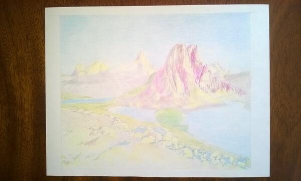 Пейзаж цветными карандашами поэтапно - шаг 5