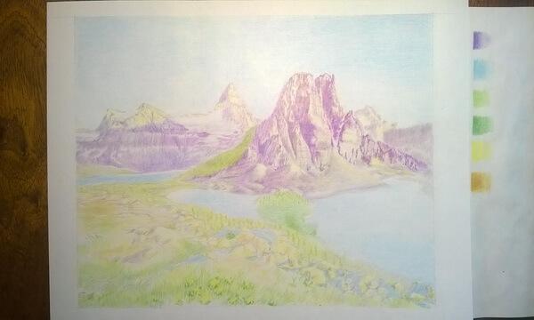 Пейзаж цветными карандашами поэтапно - шаг 6