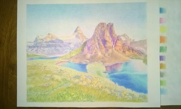 Пейзаж цветными карандашами поэтапно - шаг 9
