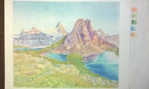 Пейзаж цветными карандашами поэтапно - шаг 10