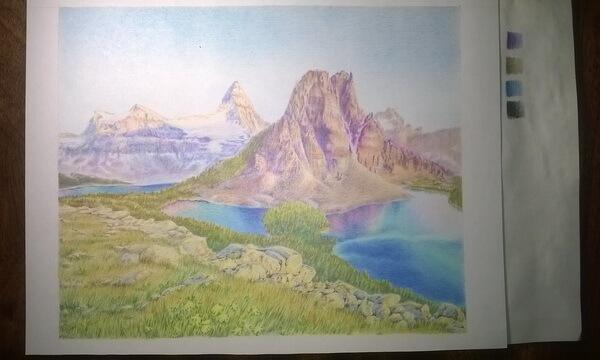 Пейзаж цветными карандашами поэтапно - завершающий этап