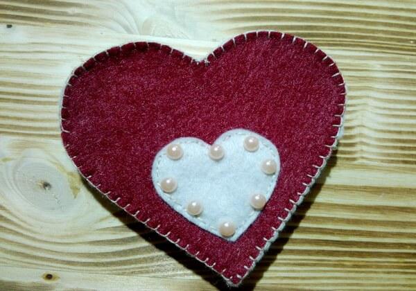 Коробочка сердце из фетра пошагово - шаг 13