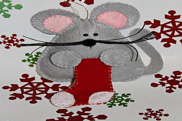 Поделки на ёлку на год крысы - Мышки из фетра своими руками