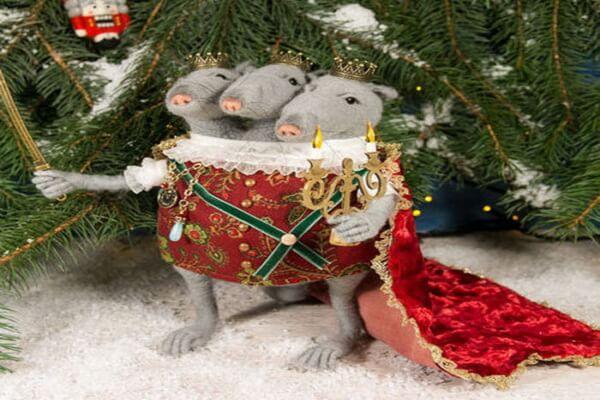 Необычные елочные игрушки к году крысы
