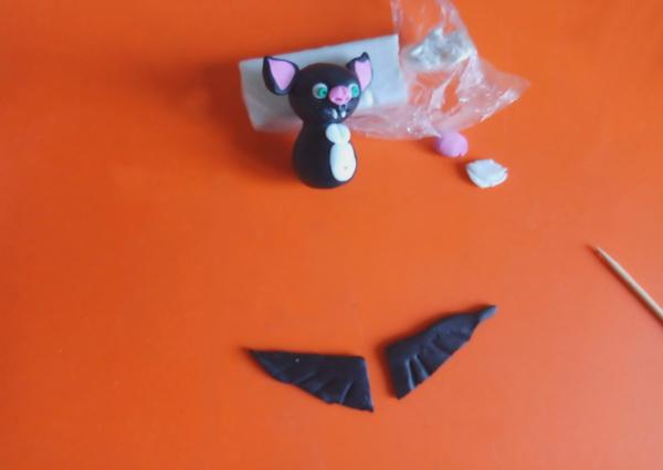 Пошаговый мастер-класс поделки на Хэллоуин - летучая мышь из полимерной глины - этап 7
