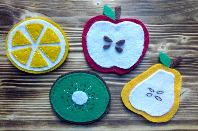 Подставки под кружку из фетра в виде фруктов - пошаговый мастер-класс с выкройками