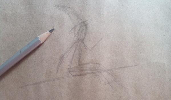 Поэтапный рисунок ведьмы из мультфильма «Место на метле» - этап 2