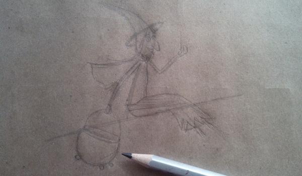Поэтапный рисунок ведьмы из мультфильма «Место на метле» - этап 4