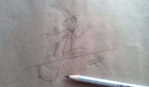 Поэтапный рисунок ведьмы из мультфильма «Место на метле» - этап 5