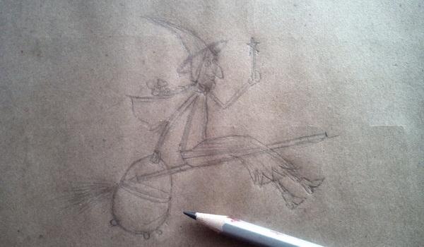 Поэтапный рисунок ведьмы из мультфильма «Место на метле» - этап 6