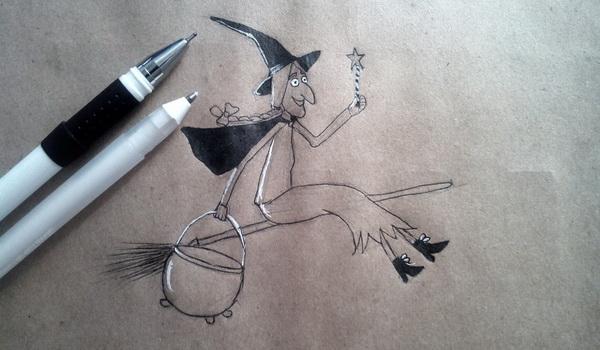 Поэтапный рисунок ведьмы из мультфильма «Место на метле» - этап 7