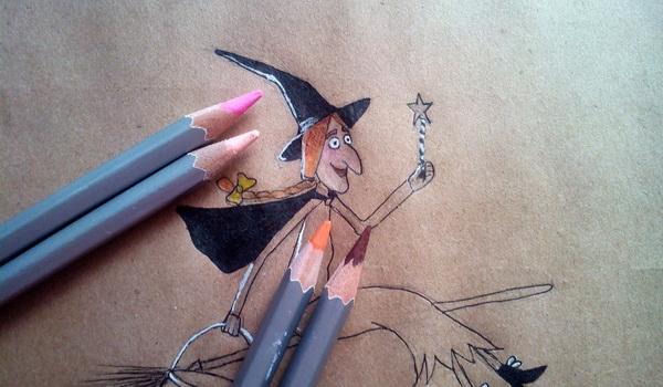 Поэтапный рисунок ведьмы из мультфильма «Место на метле» - этап 8
