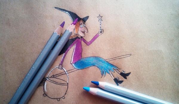 Поэтапный рисунок ведьмы из мультфильма «Место на метле» - этап 9