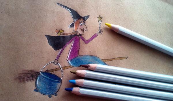Поэтапный рисунок ведьмы из мультфильма «Место на метле» - этап 10