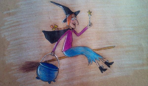Поэтапный рисунок ведьмы из мультфильма «Место на метле» - готовая работа