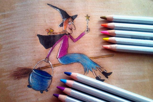 Поэтапный рисунок ведьмы из мультфильма «Место на метле»