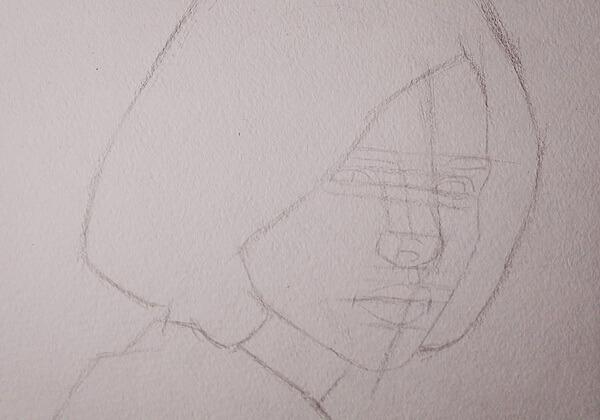 Портрет девушки акварелью поэтапно - шаг 1