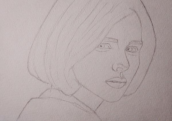 Портрет девушки акварелью поэтапно - шаг 2