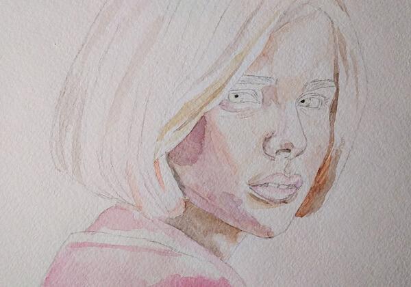Портрет девушки акварелью поэтапно - шаг 3