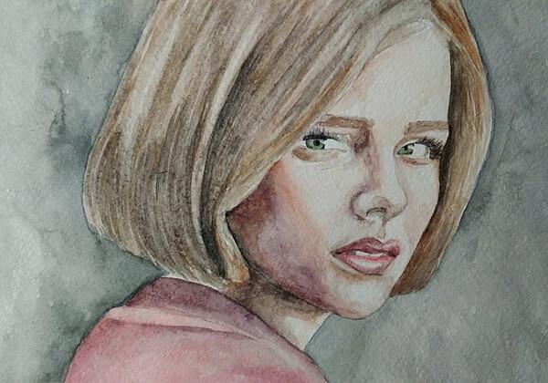 Портрет девушки акварелью поэтапно - шаг 4