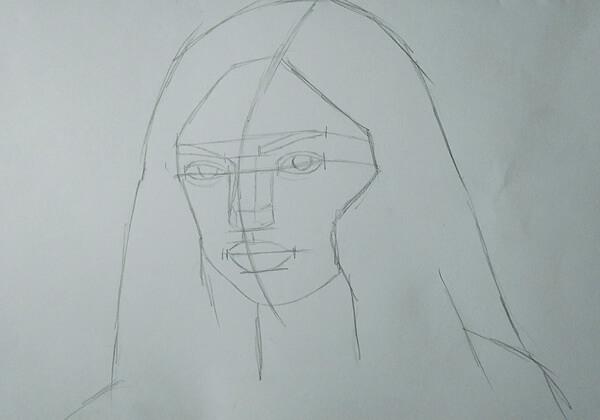 Как нарисовать портрет цветными карандашами - шаг 1