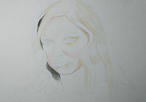 Как нарисовать портрет цветными карандашами - шаг 2