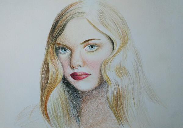 Как нарисовать портрет цветными карандашами - шаг 4